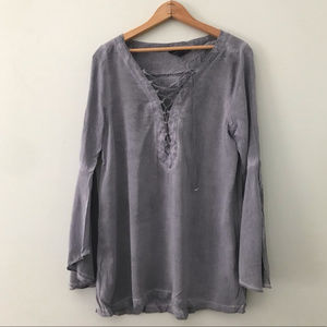 Rock & republic lace up bell sleeve blouse size m
